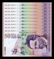 Colombia Lot Bundle 10 Banknotes 50000 Pesos 2014 Pick 455 New SC UNC - Colombia