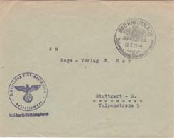 German Feldpost Just Before WW2: I. Abtlg., Flak Regiment 4 Posted Bad Kreuznach 28.8.1939 - Cover Only  (G102-25) - Militaria