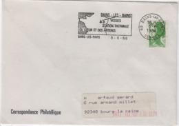 BAINS Les Bains (Vosges), 9 Juin 1986 Flamme Station Thermale / Du Coeur Et Des Artères - Marcophilie (Lettres)