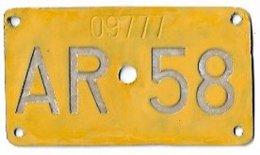 Velonummer Appenzell Ausserrhoden AR 58 - Number Plates