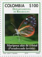 Lote 2015-8.2, Colombia, 2015, Departamento De Risaralda, Stamp, Sello, Mariposa, Butterfly Pseudoscada Lavinia - Colombia