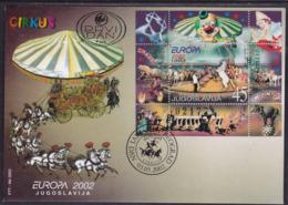 Yugoslavia, Europa, Circus, S/sheet, FDC - 2002