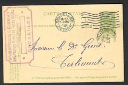 1908 BXL Moreau Manufacture Toiles Cirées Naar Thienen Tirlemont ( Tienen ) Geens   ( Klass Heuroud ) - Stamped Stationery