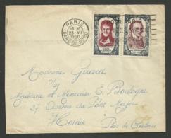 CARNOT & CHENIER Personnages Célèbres Surtaxés / Lettre >>> HESDIN - PAS DE CALAIS 1950 - Poststempel (Briefe)