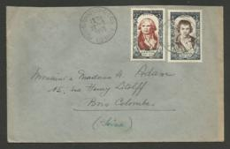 DANTON & DAVID Personnages Célèbres Surtaxés / Lettre >>> BOIS COLOMBES 1950 - Marcophilie (Lettres)