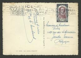 CHENIER Personnage Célèbre Surtaxé / Seul / Carte Postale NICE >>> BELGIQUE 1950 - Marcophilie (Lettres)