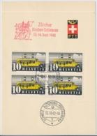 Faltblatt Mit Automobilpost SS Zürcher Kanbenschiessen 1942 - Marcophilie