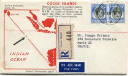 """COCOS ISLANDS ENVELOPPE RECOMMANDEE PAR AVION """"VISITE DE LA REINE ELISABETH II...."""" DEPART COCOS 5 APR 54 POUR LA FRANCE - Kokosinseln (Keeling Islands)"""