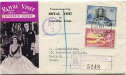 "TONGA ENVELOPPE RECOMMANDEE ""ROYAL VISIT 1953-1954"" DEPART NUKU'ALOFA 18 DE 53 POUR LA FRANCE - Tonga (...-1970)"