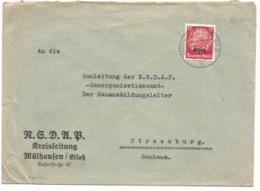 SK232 - MÜLHAUSEN (ELS) 2 - 1940 - MULHOUSE - Entête NSDAP - Sur Hindenburg Surchargé Elsass - Marcophilie (Lettres)