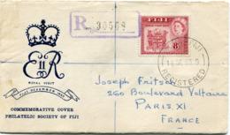 "FIDJI ENVELOPPE RECOMMANDEE ""ROYAL VISIT FIJI DECEMBER 1953"" AVEC AFFR. COMPLEMENTAIRE AU DOS DEPART SUVA 16 DE 53..... - Fidji (...-1970)"