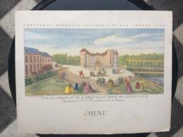 MENU COMPAGNIE GÉNÉRALE TRANSATLANTIQUE  S.S. «Antilles»  FÊTE DE L'ARMISTICE   Château De Rambouillet  NOVEMBRE 1955 - Menükarten