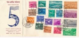 India - 1955 - 18 Stamps On FDC, Cancel Calcutta Republic Day - 1950-59 Republik
