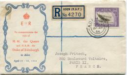 "ADEN ENVELOPPE RECOMMANDEE ""ROYAL VISIT QUEEN ELISABETH II......."" DEPART ADEN 27 AP 54 POUR LA FRANCE - Aden (1854-1963)"