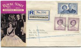 """NOUVELLE-ZELANDE ENVELOPPE RECOMMANDEE """"ROYAL VISIT 1953-1954"""" DEPART CHRISTCHURCH 3 FE 54 POUR LA FRANCE - Nouvelle-Zélande"""