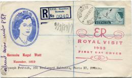 """BERMUDES ENVELOPPE RECOMMANDEE """"ROYAL VISIT NOVEMBER 1953"""" DEPART HAMILTON 26 NOV 53 POUR LA FRANCE - Bermudes"""