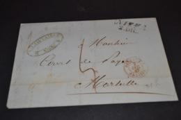 Lettre 1847 Cursive Nizza Cachet Rouge Sardaigne Antibes Pour Marseille - Marcofilia (sobres)