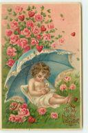 N°13338 - Carte Gaufrée - To My Valentine - Ange Dormant Sous Un  Rosier - Saint-Valentin