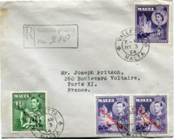 MALTE ENVELOPPE RECOMMANDEE DEPART VALLETTA MY 3  54 MALTA POUR LA FRANCE - Malte (...-1964)