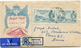 """GIBRALTAR ENVELOPPE RECOMMANDEE PAR AVION """"ROYAL VISIT""""  AVEC AFFR. COMPLEMENTAIRE AU DOS DEPART GIBRALTAR 12 MY 54 - Gibraltar"""