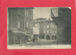 CPA -   Les Vans - Grand'Rue Et Place Du Marché - France