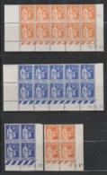 LOT COINS DATES PAIX TOUS** - 366 X 10 De 38 / 368 X 10 De 38 / 366 X 4 De 39 / 359 X 4 De 37 - Ecken (Datum)