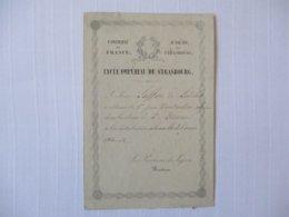 LYCEE IMPERIAL DE STRASBOURG  1er PRIX A LA DISTRIBUTION SOLENNELLE DE L'ANNEE 1863-64 LE PROVISEUR DU LYCEE BASTIEN - Diplômes & Bulletins Scolaires