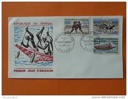 2 FDC Senegal Lutte Course De Pirogue Chevaux Danse - Sénégal (1960-...)