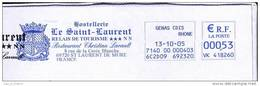 EMA Sur Lettre / Slogan Meter On Cover / Armoiries Coat-of-arm Restaurant Genas 69 Rhone - Briefe U. Dokumente