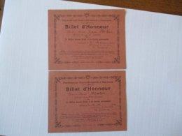 PENSIONNAT SAINT-EUVERTE A ORLEANS BILLETS D'HONNEUR DES 23.12.1919 ET 29 FEVRIER 1920 LE DIRECTEUR H. THOMAS - Diplômes & Bulletins Scolaires