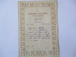 J.M.J. PENSIONNAT SAINTE-MARIE VALENCIENNES ANNEE SCOLAIRE 1921-1922 1er PRIX RAYMONDE CHARLE LA DIRECTRICE M. ROUX - Diploma & School Reports