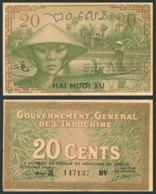 French Indo-China - 20 Cents 1939 XF Pick 86d Lemberg-Zp - Indochina