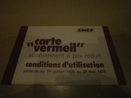 Condition D'utilisation Carte Vermeil SNCF En 1978 - Transport