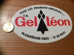 Ancien AUTOCOLLANT, Sticker «SA Gel Léon - TOUS LES PRODUITS SURGELÉS - PLOUNÉOUR-TREZ (29) » (Hermine) - Autocollants