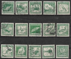 1948 Chile Flora Y Fauna Insectos-aves-peces-anguila-murcielago-focas-nutria-zorrino-ciervo-yacare 15v. - Other