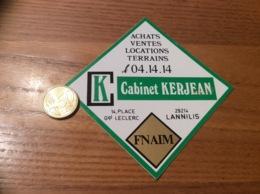 Ancien AUTOCOLLANT, Sticker «K Cabinet KERJEAN - FNAIM - LANNILIS (29) » - Autocollants