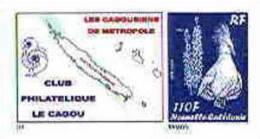 Nouvelle Caledonie Timbre Poste Personnalise Cagou Ramon Oiseau Bleu Prive Cagousiens France Neuf Avec Support 2009 Unc - Nueva Caledonia