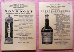 Lot Of Two Reclame Ljekarna Usmiani  Saluti Arbe Rab Croatia Carnaro - Werbung