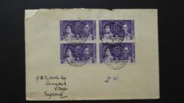 MAURITIUS SG 249 BL4 CORONATION KGVI 12 MAY 1937 POSTMARK  ?? 7 PORT LOUIS FDC - Mauritius (1968-...)