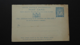 NEW SOUTH WALES PREPAID UNION POSTALE UNIVERSELLE REPLY CARD MINT - Gebraucht