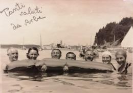 Tanti Saluti Da Arbe Isola RPC Family Around Luftmadrac 1938. Rab Croatia Carnaro RR - Otros