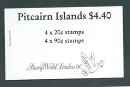 Pitcairn Islands 1990 $4.40 Booklet With New Watermark Ship Panes, London Stamp World Overprint ,  Complete , Very Fine - Stamps