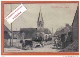Carte Postale 27. Guiseniers  Attelage  Rue De L'église Trés Beau Plan - Otros Municipios