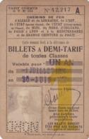 CHEMINS DE FER D' ALSACE ET DE LORRAINE , ETC...  :  CARTE POUR BILLETS A DEMI - TARIF  .  1926  .  VALABLE UN AN  .. - Titres De Transport
