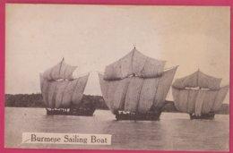 Myanmar - Burma - Burmese Sailing Boat - Old Postcard - Myanmar (Burma)