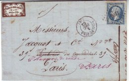 Etiquette Publicitaire Sur Lettre 1862 RARE à Cette Epoque N° 14 Obl  DOLE DU JURA - Poststempel (Briefe)
