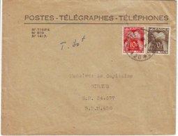 """Lettre Taxee Timbres Gerbe Obl POSTE AUX ARMEES *420* Occupation Militaire De L"""" Autriche 1953 - Marcophilie (Lettres)"""