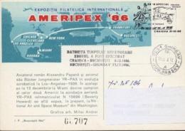 AVION BIPLAN D' Alexandru PAPANA,champion D'acrobatie 1936 Exp AMERIPEX'86 / BF 184  Carte Maximum.Voir Scan Roumanie - Covers & Documents