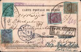 ! 1908 Old Registered Postcard, Einschreiben, Persien Persia, Perse, Sultanabad, Pausa Bad Kösen, Verl Striemann Cottbus - Iran