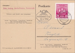 "DDR:  1956: Postkarte FDC, Berlin- ""Kleine Fälschung"" - [6] Democratic Republic"